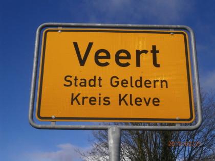 Ortsschild Veert, Stadtteil von Geldern, Kreis Kleve